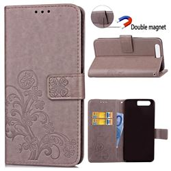 Embossing Imprint Four-Leaf Clover Leather Wallet Case for Huawei Honor 9 - Grey