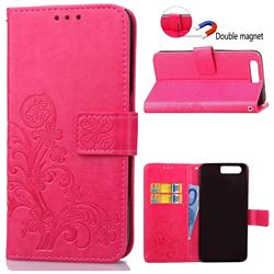 Embossing Imprint Four-Leaf Clover Leather Wallet Case for Huawei Honor 9 - Rose