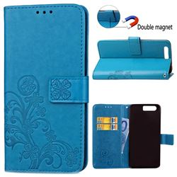 Embossing Imprint Four-Leaf Clover Leather Wallet Case for Huawei Honor 9 - Blue