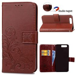 Embossing Imprint Four-Leaf Clover Leather Wallet Case for Huawei Honor 9 - Brown