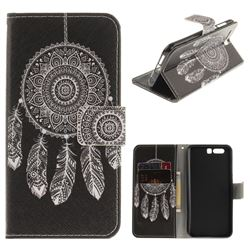 Black Wind Chimes PU Leather Wallet Case for Huawei Honor 9