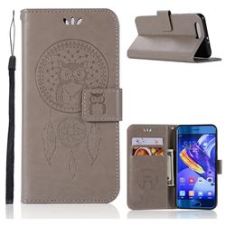 Intricate Embossing Owl Campanula Leather Wallet Case for Huawei Honor 9 - Grey