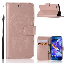 Intricate Embossing Owl Campanula Leather Wallet Case for Huawei Honor 9 - Rose Gold