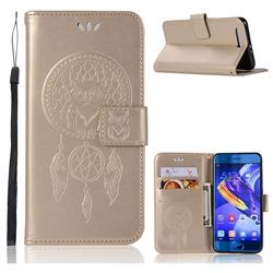 Intricate Embossing Owl Campanula Leather Wallet Case for Huawei Honor 9 - Champagne