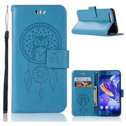 Intricate Embossing Owl Campanula Leather Wallet Case for Huawei Honor 9 - Blue