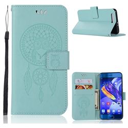 Intricate Embossing Owl Campanula Leather Wallet Case for Huawei Honor 9 - Green