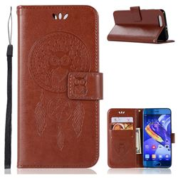 Intricate Embossing Owl Campanula Leather Wallet Case for Huawei Honor 9 - Brown