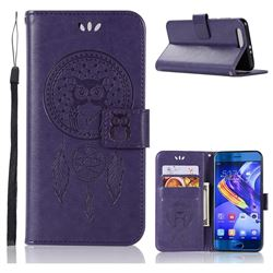 Intricate Embossing Owl Campanula Leather Wallet Case for Huawei Honor 9 - Purple