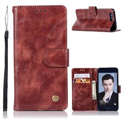 Luxury Retro Leather Wallet Case for Huawei Honor 9 - Wine Red