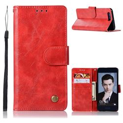 Luxury Retro Leather Wallet Case for Huawei Honor 9 - Red