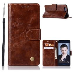 Luxury Retro Leather Wallet Case for Huawei Honor 9 - Brown