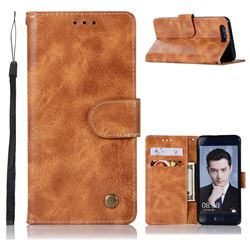 Luxury Retro Leather Wallet Case for Huawei Honor 9 - Golden