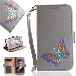Imprint Embossing Butterfly Leather Wallet Case for Huawei Honor 9 - Grey