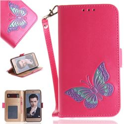 Imprint Embossing Butterfly Leather Wallet Case for Huawei Honor 9 - Rose Red