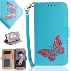 Imprint Embossing Butterfly Leather Wallet Case for Huawei Honor 9 - Sky Blue