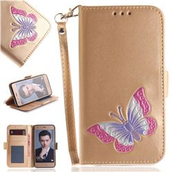 Imprint Embossing Butterfly Leather Wallet Case for Huawei Honor 9 - Golden