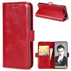 Luxury Crazy Horse PU Leather Wallet Case for Huawei Honor 9 - Red