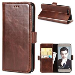 Luxury Crazy Horse PU Leather Wallet Case for Huawei Honor 9 - Coffee