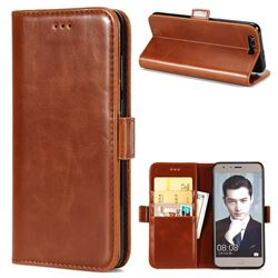 Luxury Crazy Horse PU Leather Wallet Case for Huawei Honor 9 - Brown