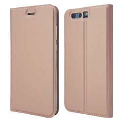 Ultra Slim Card Magnetic Automatic Suction Leather Wallet Case for Huawei Honor 9 - Rose Gold