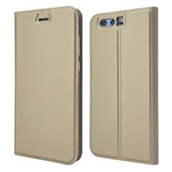 Ultra Slim Card Magnetic Automatic Suction Leather Wallet Case for Huawei Honor 9 - Champagne