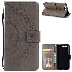 Intricate Embossing Datura Leather Wallet Case for Huawei Honor 9 - Gray