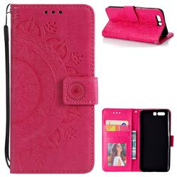 Intricate Embossing Datura Leather Wallet Case for Huawei Honor 9 - Rose Red