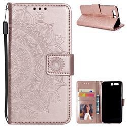 Intricate Embossing Datura Leather Wallet Case for Huawei Honor 9 - Rose Gold