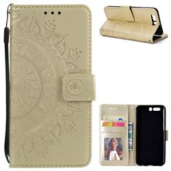 Intricate Embossing Datura Leather Wallet Case for Huawei Honor 9 - Golden