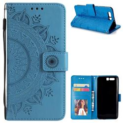 Intricate Embossing Datura Leather Wallet Case for Huawei Honor 9 - Blue
