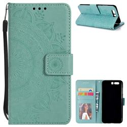 Intricate Embossing Datura Leather Wallet Case for Huawei Honor 9 - Mint Green