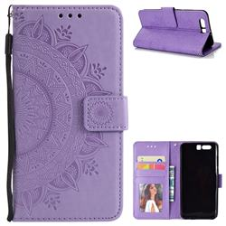 Intricate Embossing Datura Leather Wallet Case for Huawei Honor 9 - Purple
