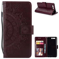 Intricate Embossing Datura Leather Wallet Case for Huawei Honor 9 - Brown