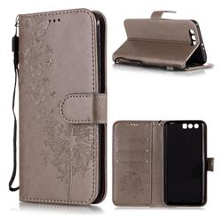 Intricate Embossing Dandelion Butterfly Leather Wallet Case for Huawei Honor 9 - Gray