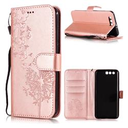 Intricate Embossing Dandelion Butterfly Leather Wallet Case for Huawei Honor 9 - Rose Gold