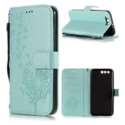 Intricate Embossing Dandelion Butterfly Leather Wallet Case for Huawei Honor 9 - Green