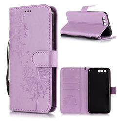 Intricate Embossing Dandelion Butterfly Leather Wallet Case for Huawei Honor 9 - Purple
