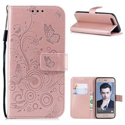 Intricate Embossing Butterfly Circle Leather Wallet Case for Huawei Honor 9 - Rose Gold