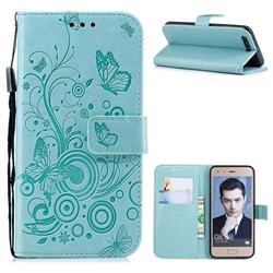 Intricate Embossing Butterfly Circle Leather Wallet Case for Huawei Honor 9 - Cyan