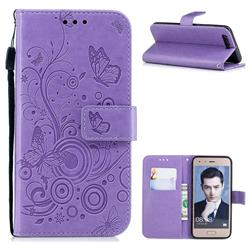 Intricate Embossing Butterfly Circle Leather Wallet Case for Huawei Honor 9 - Purple