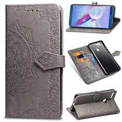 Embossing Imprint Mandala Flower Leather Wallet Case for Huawei Honor 9 - Gray