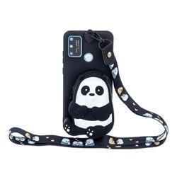 Cute Panda Neck Lanyard Zipper Wallet Silicone Case for Huawei Honor 9A