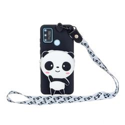 White Panda Neck Lanyard Zipper Wallet Silicone Case for Huawei Honor 9A