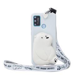 White Polar Bear Neck Lanyard Zipper Wallet Silicone Case for Huawei Honor 9A