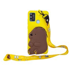 Yellow Bear Neck Lanyard Zipper Wallet Silicone Case for Huawei Honor 9A