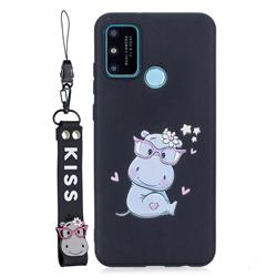 Black Flower Hippo Soft Kiss Candy Hand Strap Silicone Case for Huawei Honor 9A