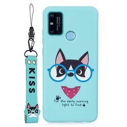 Green Glasses Dog Soft Kiss Candy Hand Strap Silicone Case for Huawei Honor 9A