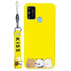Yellow Bear Family Soft Kiss Candy Hand Strap Silicone Case for Huawei Honor 9A