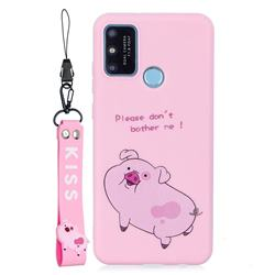 Pink Cute Pig Soft Kiss Candy Hand Strap Silicone Case for Huawei Honor 9A
