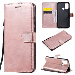 Retro Greek Classic Smooth PU Leather Wallet Phone Case for Huawei Honor 9A - Rose Gold